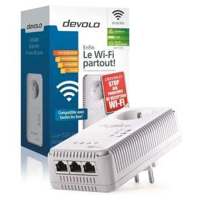 Adaptateur CPL 500 Mbps avec switch Ethernet 3 ports Devolo dLAN 500 AV Wireless+