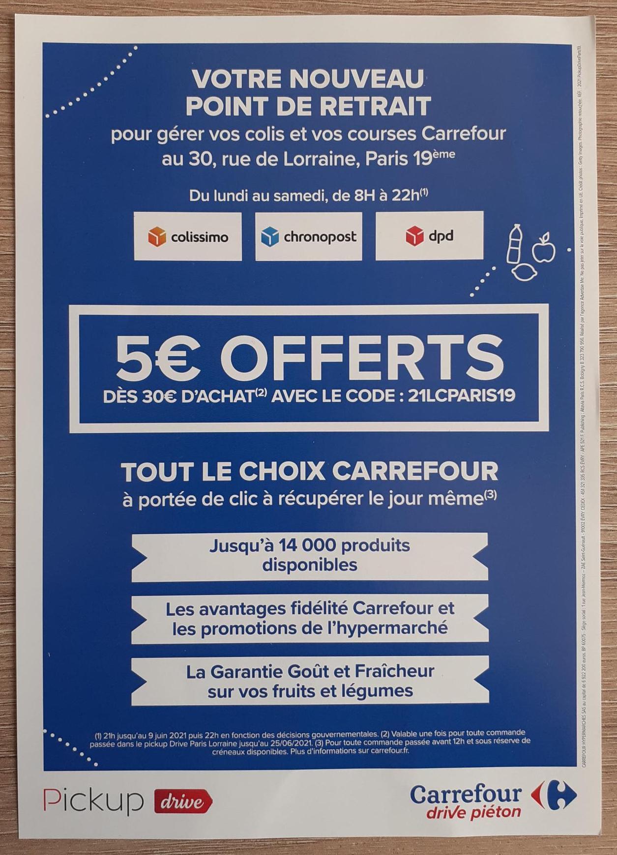 5€ de réduction dès 30€ d'achat - Pickup Drive Lorraine (75)