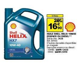 Huile Shell Helix HX7 10W40 - essence ou diesel, 5 L