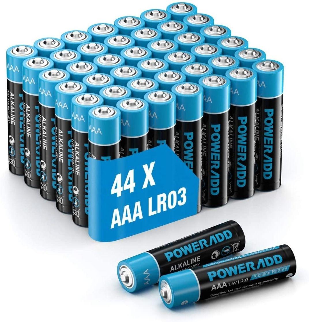 Lot de 44 Piles AAA Type AlcalinePowerAdd - 1,5V (Vendeur tiers)