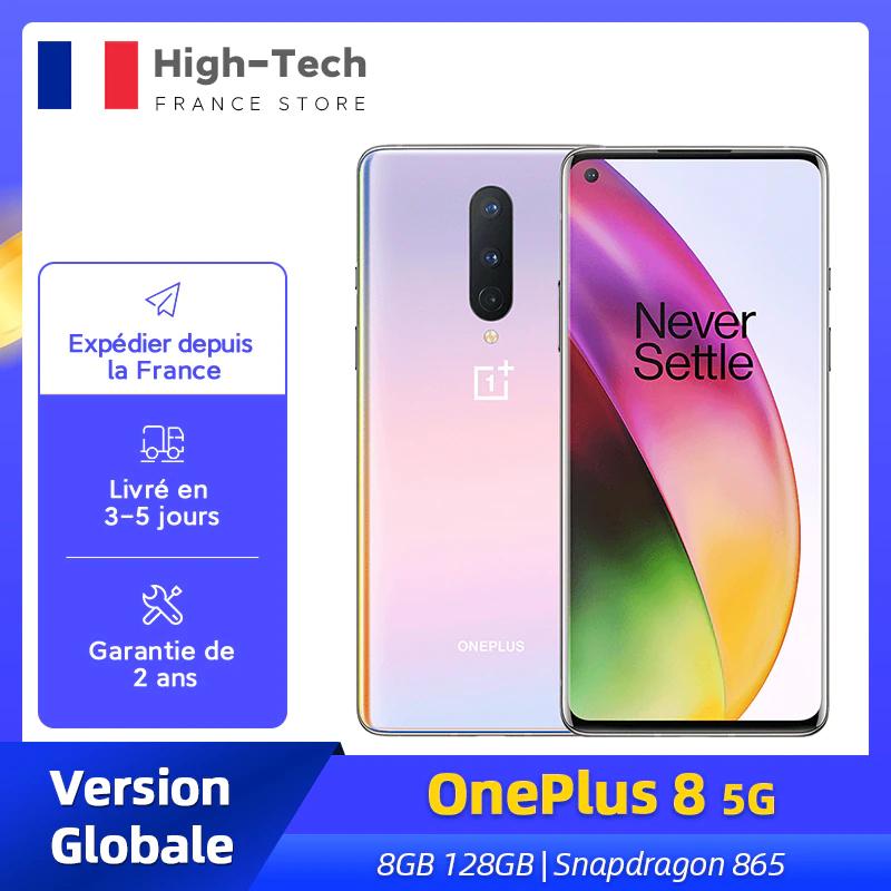 "Smartphone 6.55"" OnePlus 8 5G - full HD+ 90 Hz, SnapDragon 865, 8 Go de RAM, 128 Go"