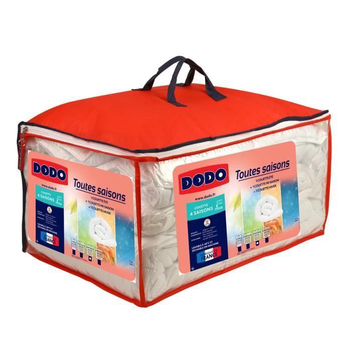 Couette Dodo 4 Saisons - 220x240 cm - 1 couette légère + 1 couette tempérée - 100% Polyester