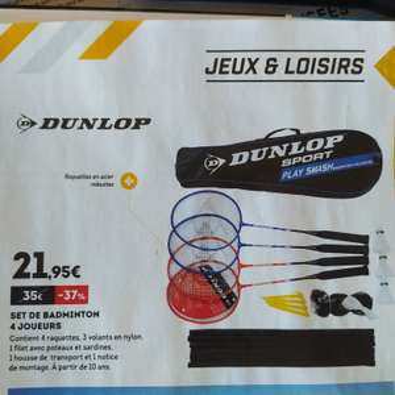 Set de badminton 4 joueurs Dunlop - avec 4 raquettes, 3 volants, filet, poteux, sardines et housse de transport