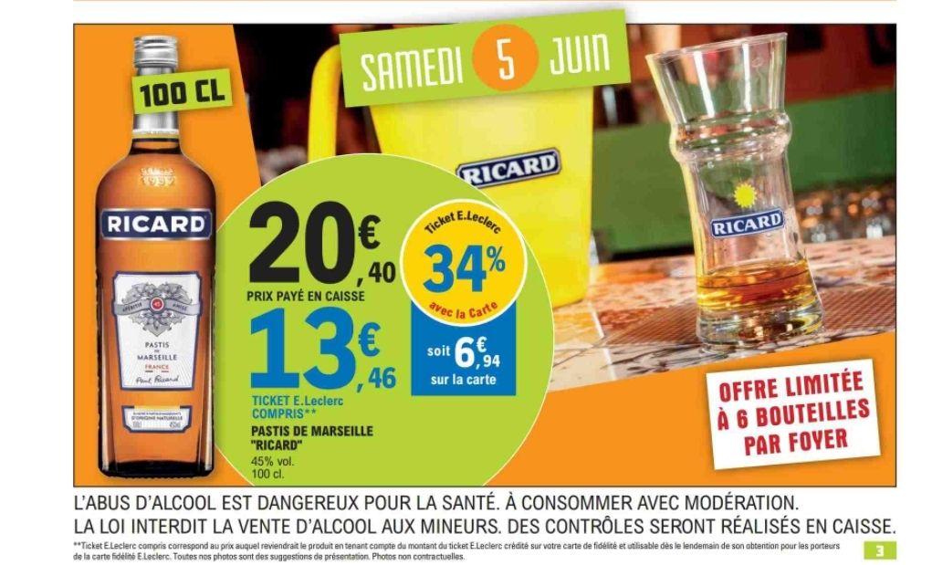 1 Bouteille de Ricard (via 6.94€ sur la carte)
