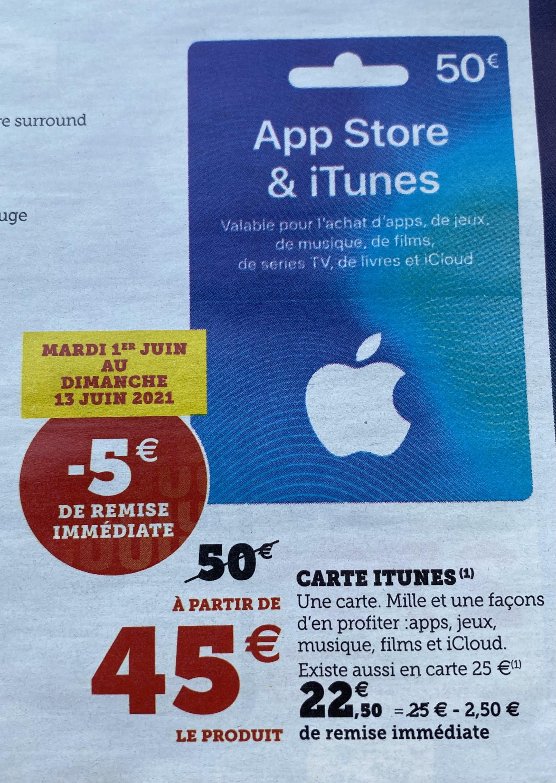 10% de réduction pour l'achat de cartes App Store & iTunes de 25 ou 50€ (Magasins Participants)