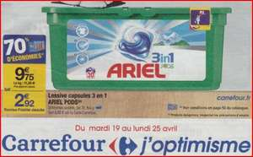 Lessive Ariel écopods  3-en-1 gratuite (avec 6.83€ sur la carte et BDR)