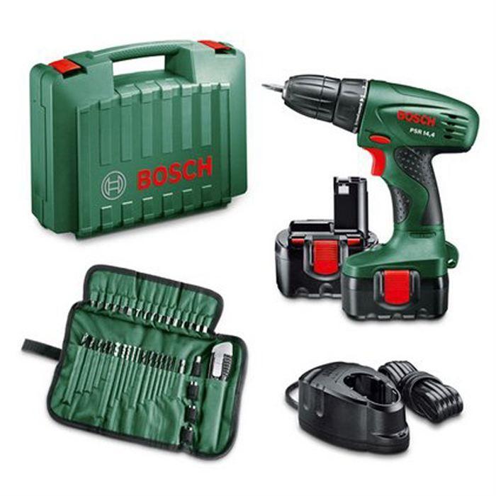 Perceuse sans fil  Bosch   PSR14,4 + 2 batteries Ni-Cd + 39 accessoires