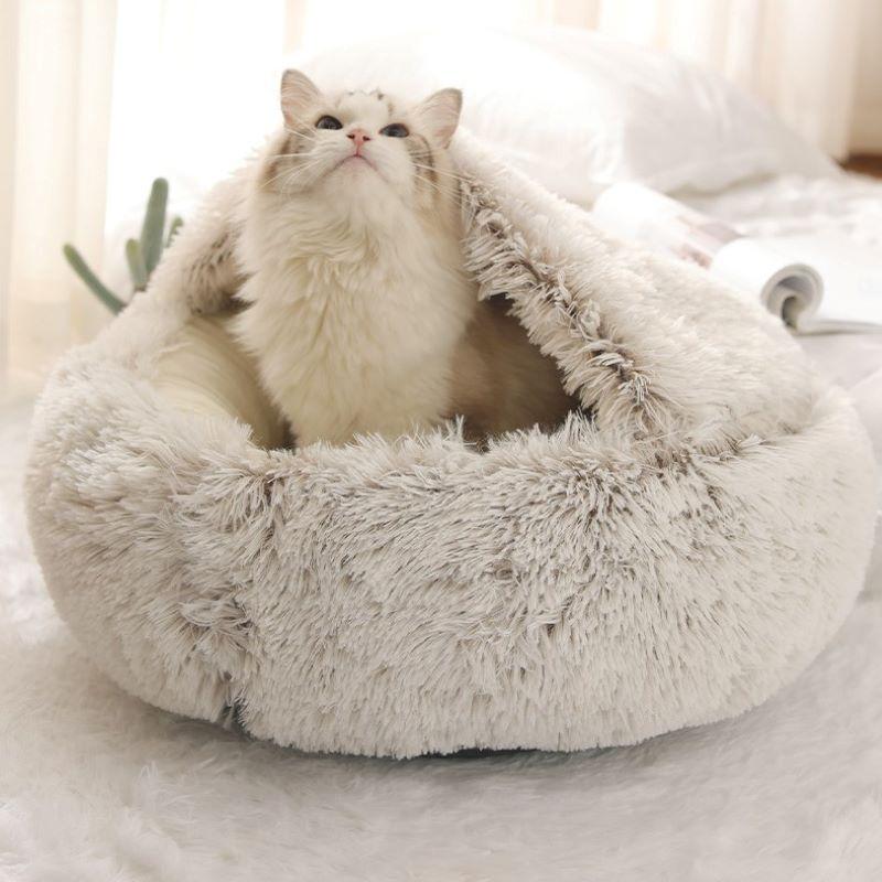 [Nouveaux Clients] 2 en 1: lit de grotte pour animaux de compagnie et tapis pour animaux de compagnie - 35 cm (Coloris au choix)