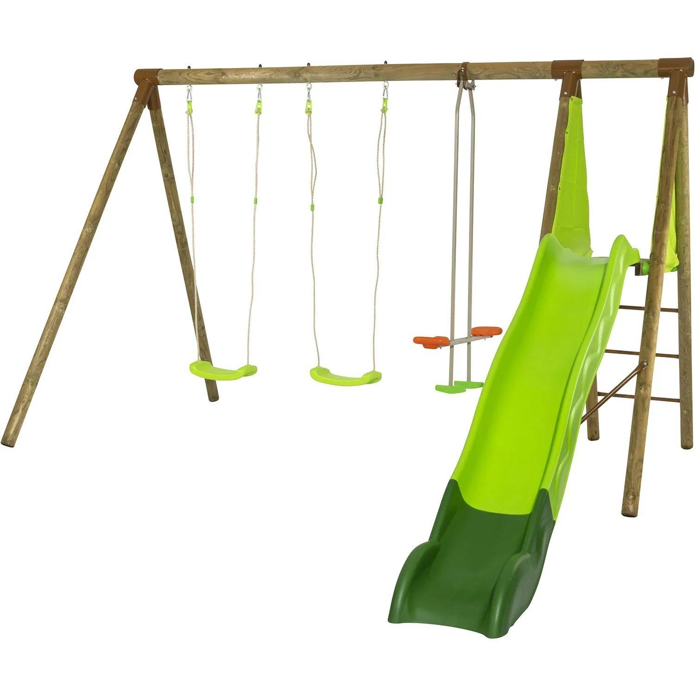 Portique en bois Azuki Trigano - 2,30 m. + Toboggan, 5 Enfants