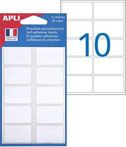 Pochette de 70 étiquettes blanches Apli - 3.2x2 cm