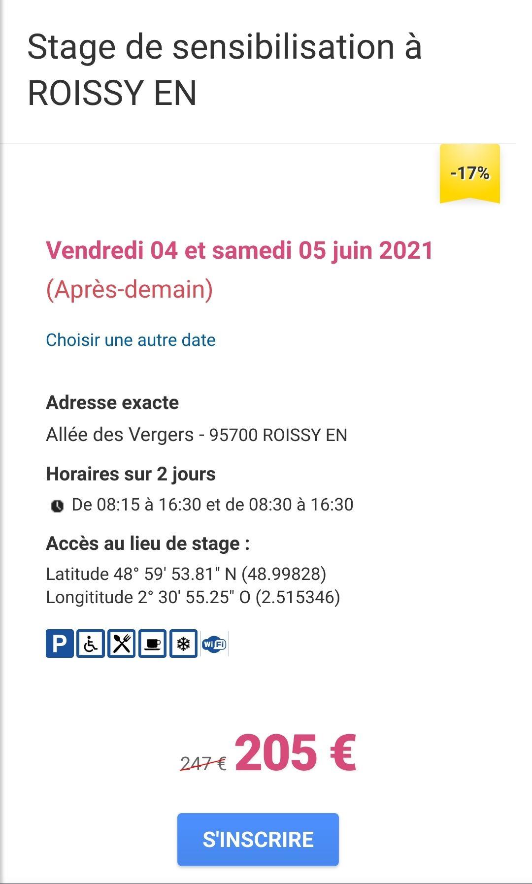 Stage de sensibilisation et récupération de 4 points sur le permis de conduire - les 4 et 5 juin, Roissy-en-France (95) - Permis-aPoints.com