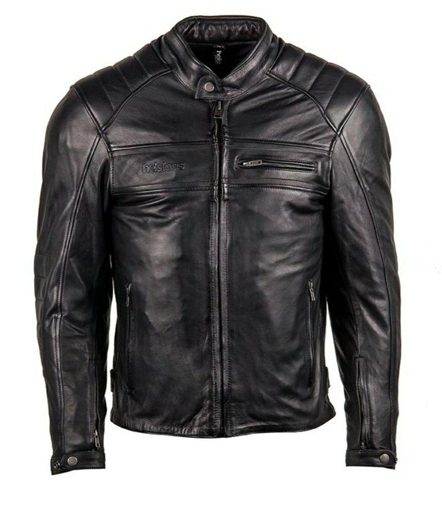 Blouson de moto Helstons Master K Rag - en cuir, noir (du S au 3XL)