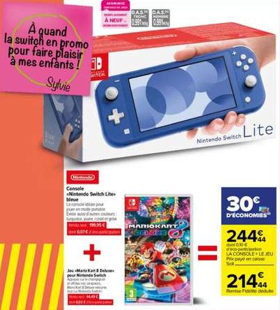 Console Nintendo Switch Lite + Mario Kart Deluxe 8 (via 30€ sur la carte)