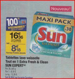 2 packs de tablettes Sun tout en 1 Extra Fresh & Clean x38 (8,18€ sur la carte + BDR)