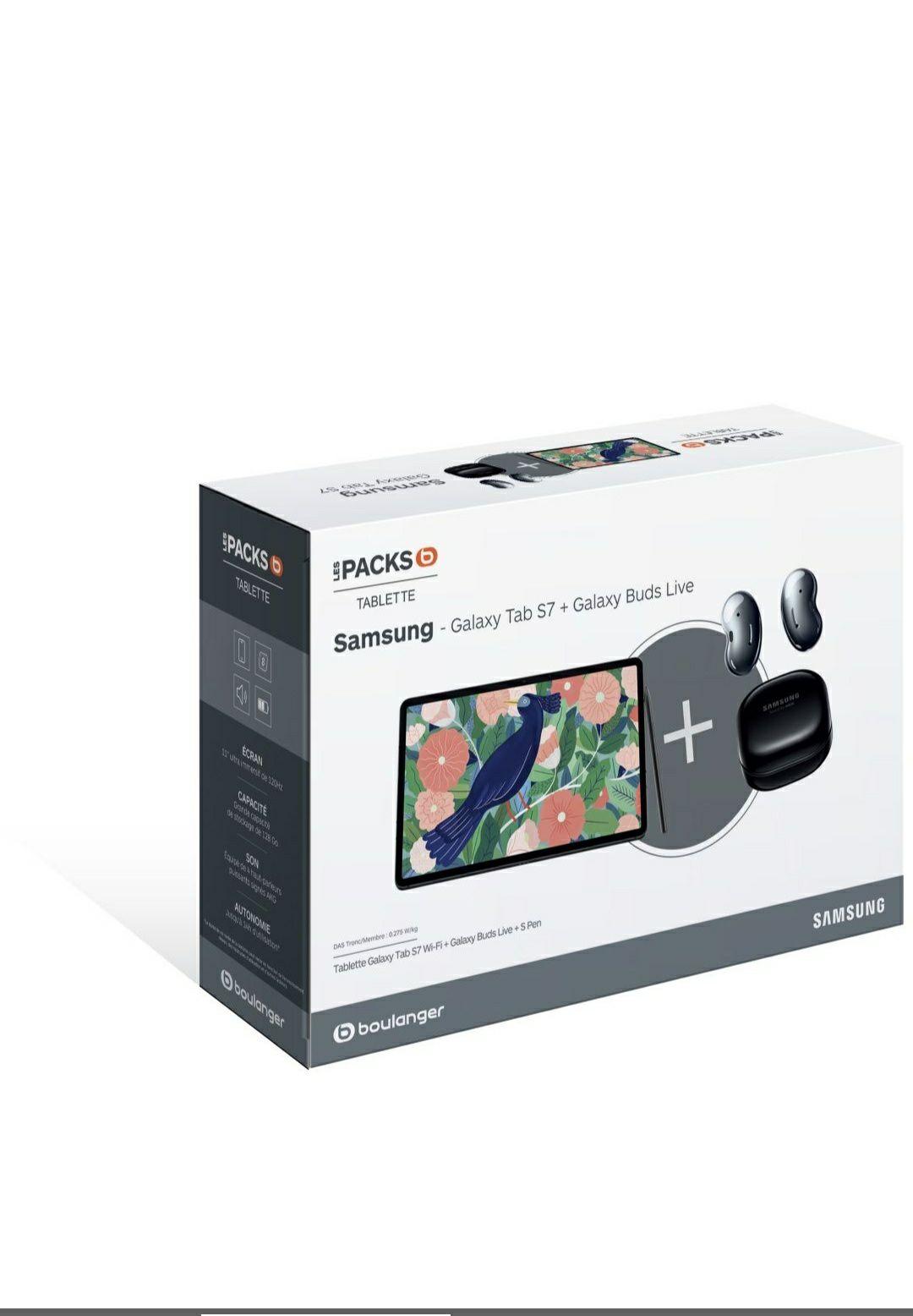 "Pack Tablette 11"" Samsung Galaxy Tab S7 - 6 Go RAM, 128 Go + Ecouteurs sans-fil Buds Live (Via ODR 100€)"