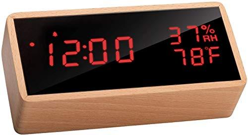 Réveil numérique en bois Flysocks - Affichage LED désactivable, Fonction température et humidité (Vendeur Tiers)