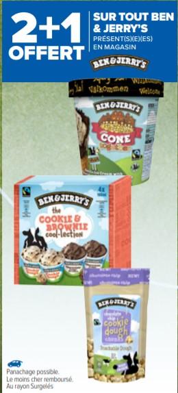 Sélection de produits en promotion - Ex : 2 produits Ben & Jerry's achetés = le 3ème offert (le moins cher)