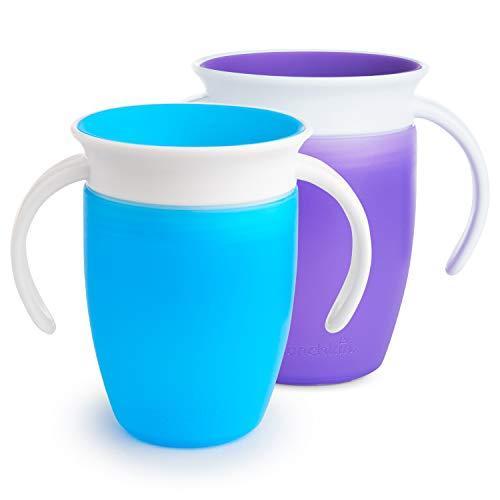 Lot de 2 tasses d'apprentissage pour enfant Munchkin Miracle - bleu & violet