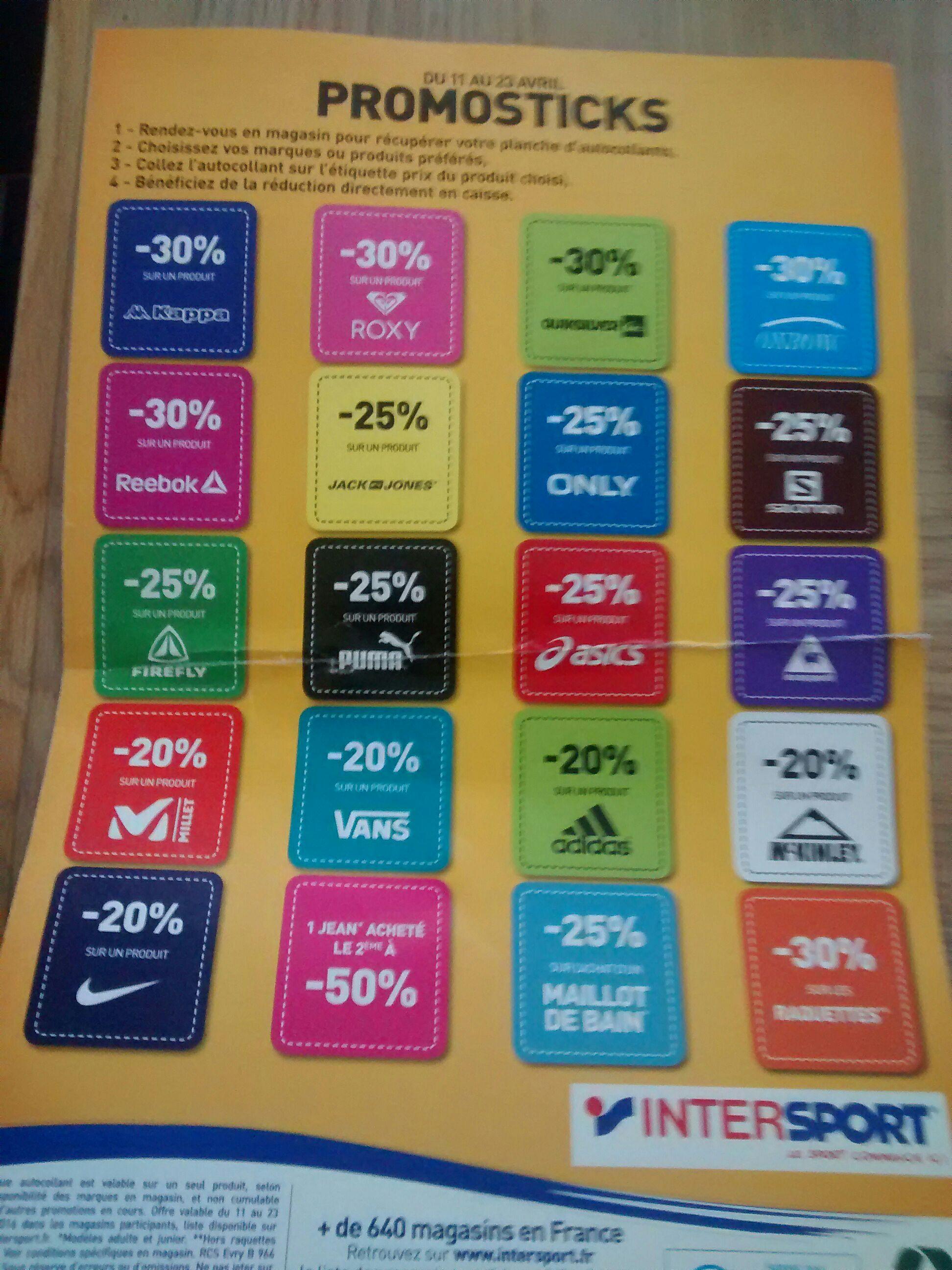 De 20% à 30% de réduction sur une sélection marques - Ex : 20% sur un produit Nike