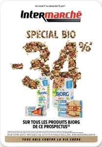34% de réduction sur les produits Bjorg du catalogue