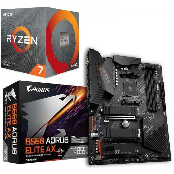 Kit d'évolution : Processeur Ryzen 7 3700X Wraith Prism LED RGB - 3,6/4,4 GHz + Carte Mère Gigabyte B550 Aorus Elite AX