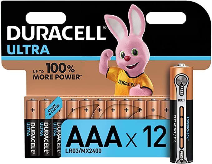 Lot de 12 piles alcalines AAA Duracell Ultra MX2400 - 1.5 Volts, LR03