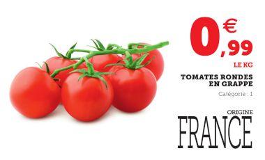 Tomates rondes en grappe Catégorie 1 Origine France (le kilo)
