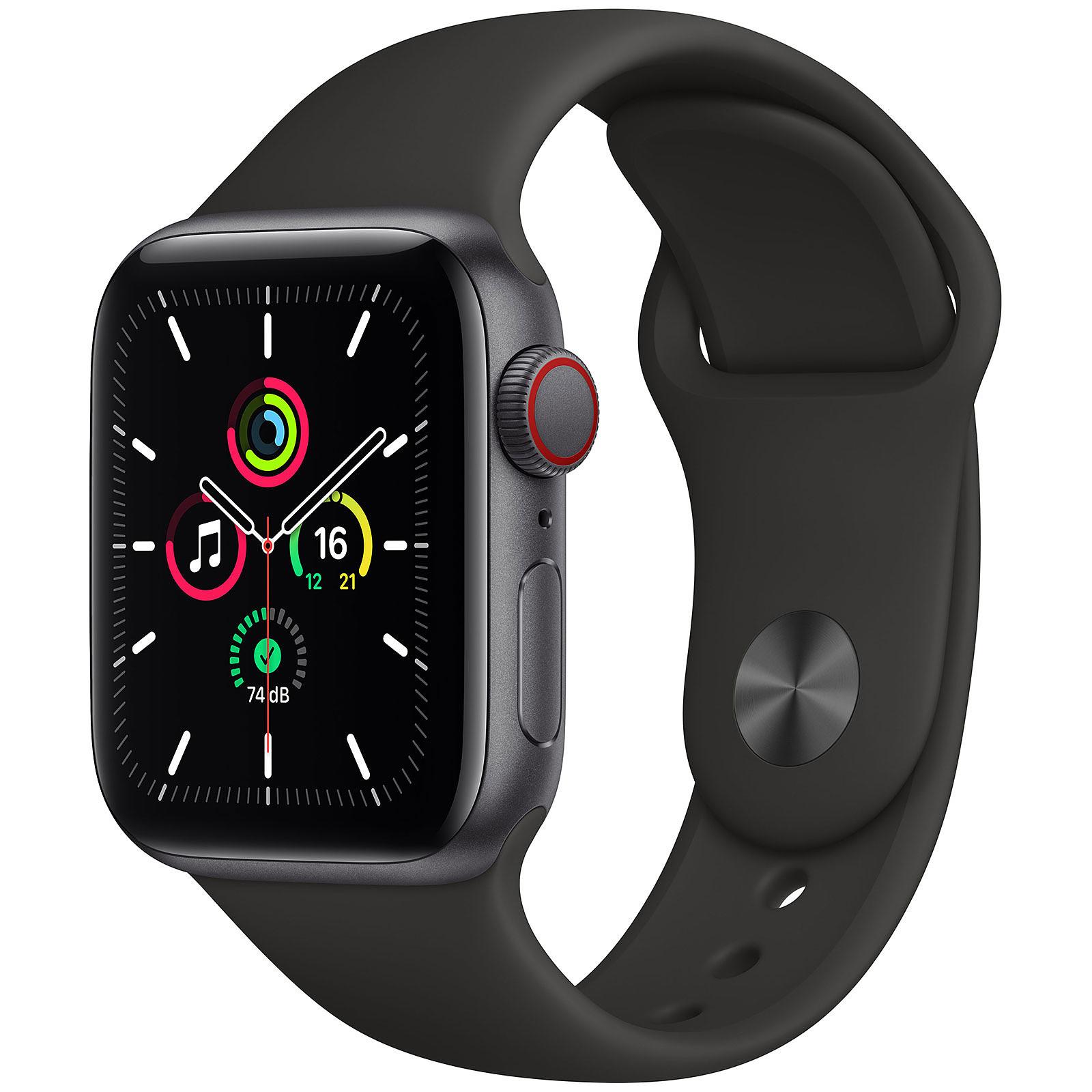 [CDAV] Montre connectée Apple Watch SE (GPS + Cellular) - 40 mm, Boîtier en Aluminium Gris Sidéral avec Bracelet Sport Noir
