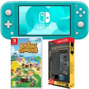 Console Nintendo Switch Lite + Jeu Animal Crossing : New Horizons + Pack 6 Accessoires Exclusifs