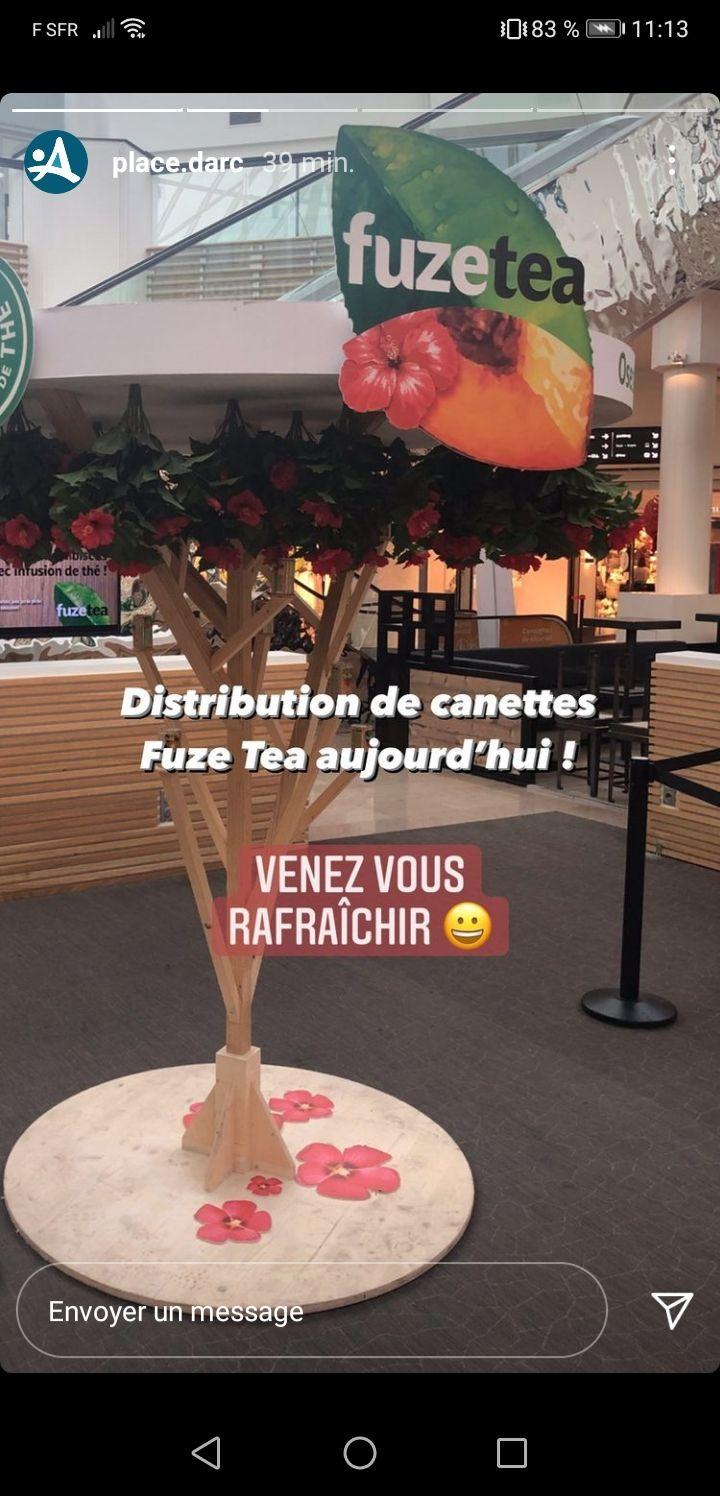 Distribution de canettes Fuze Tea (150ml) gratuite - Place d'arc Orléans (45)
