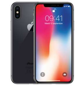 """Smartphone 5.8"""" Apple iPhone X - Gris sidéral, 256 Go (Reconditionné - Comme neuf)"""