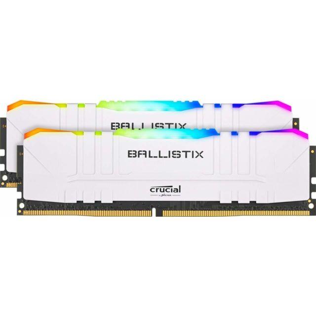 Kit mémoire RAM Ballistix White RGB - 16Go (2x8Go), 3600 MHz, CL16, DDR4