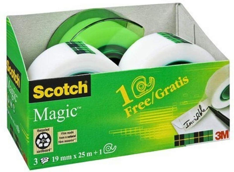 Pack dévidoir + 3 rouleaux Adhésif 3M Scotch Magic - 19mm x 25m