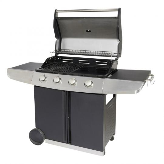 Barbecue à gaz 4 brûleurs avec grilles et plancha (Retrait dans une sélection de magasins)