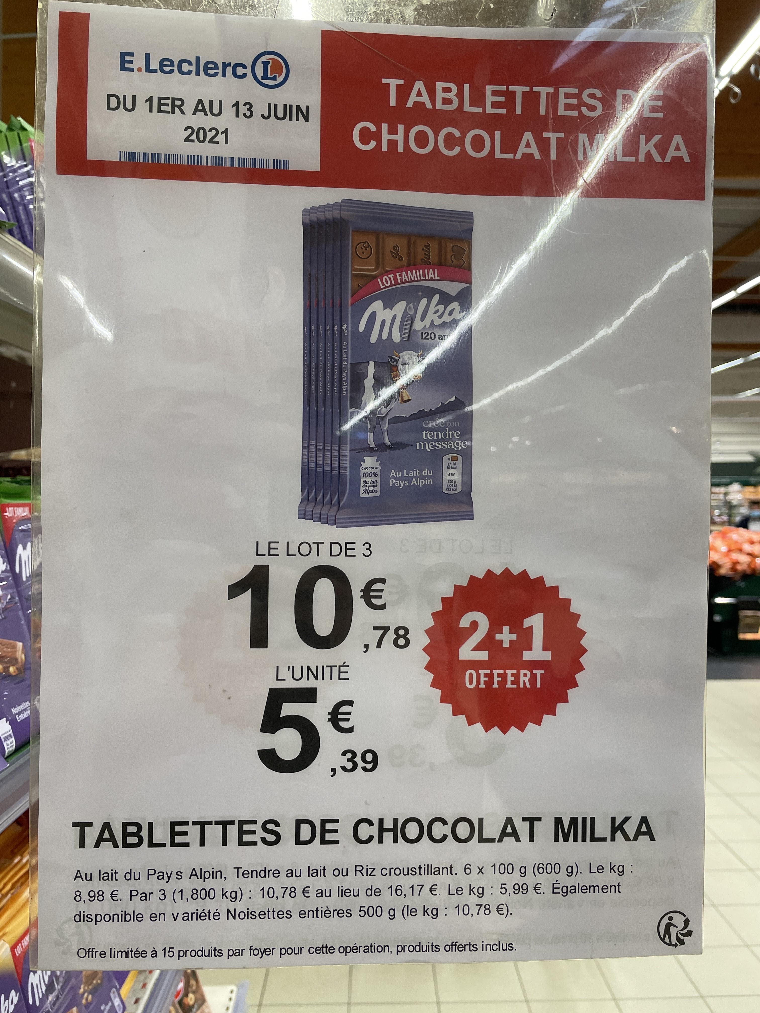 Lot de 3 Paquets de 6 Tablettes de chocolats Milka - Diverses variétés