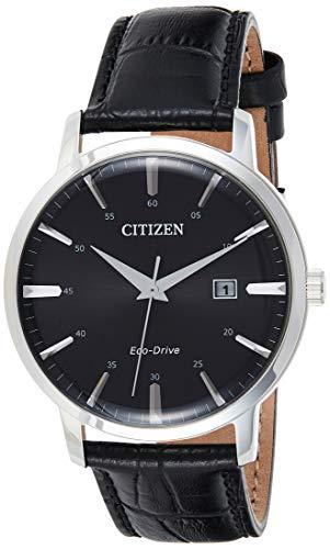 Montre solaire Citizen Eco Drive Bracelet en Cuir BM7460-11E - Date pour Homme