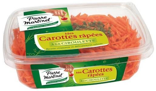 La barquette de carottes rappées à la ciboulette Pierre Martinet (via BDR) - 500g