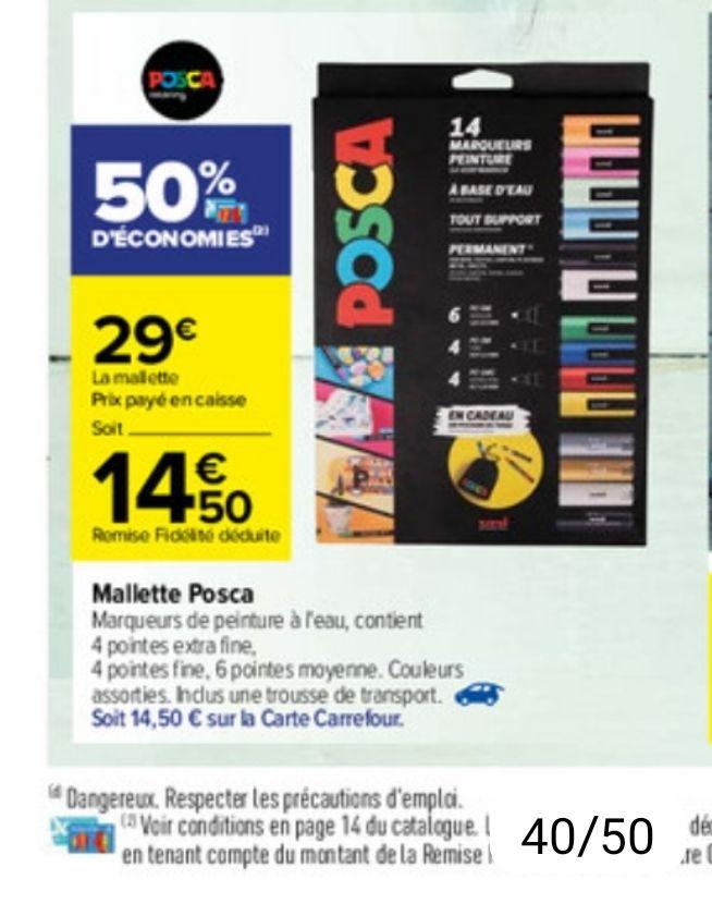 Etui de 14 marqueurs peinture Posca + Trousse de transport (Via 14.50€ sur la carte fidélité)