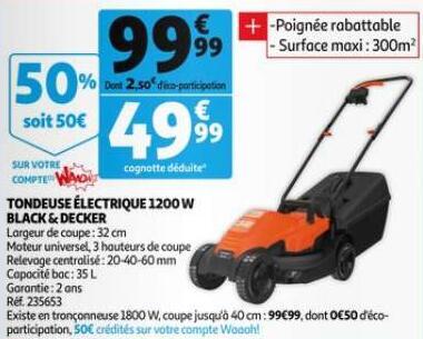 Sélections d'outils de jardin Black & Decker en promotion - Ex: Tondeuse à gazon 1200W (via 50€ sur la carte de fidélité)