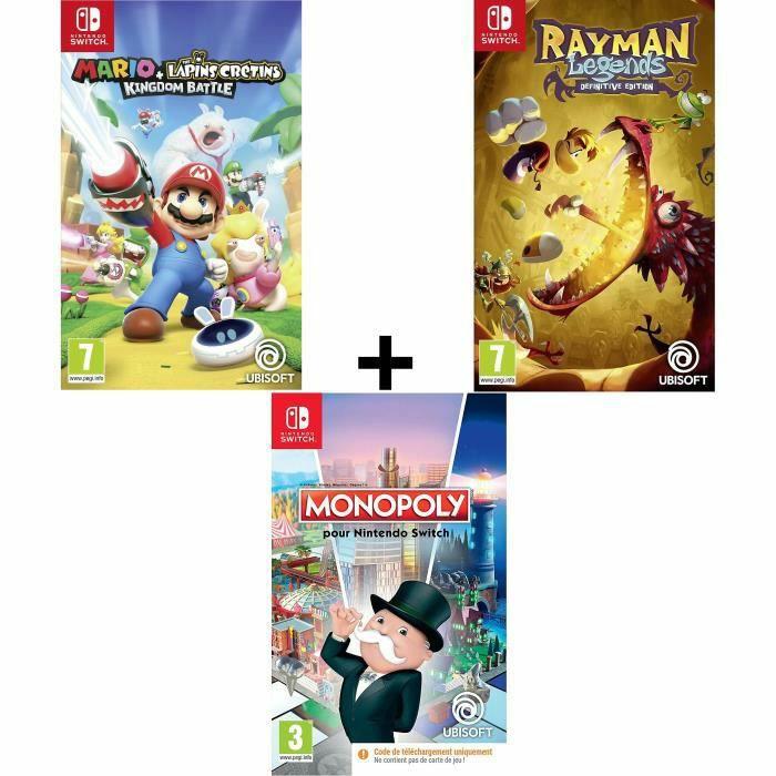 Lot 3 jeux : Mario Lapins Crétins + Rayman Legends Definitive Edition + Monopoly sur Nintendo Switch (Code de téléchargement dans la boite)