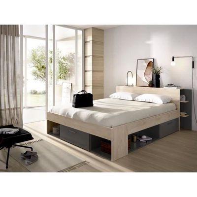 [CDAV] Lit adulte 160 × 200 cm, 3 tiroirs + tête de lit avec rangement - Chêne et anthracite (+49,99€ sur la cagnotte)
