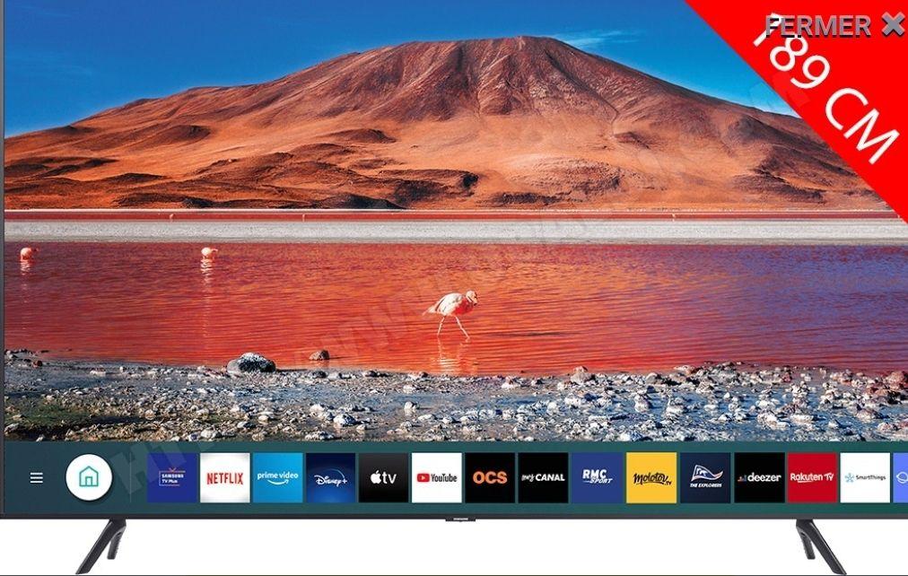 "TV 75"" Samsung 75TU7125 - 4K UHD, HDR 10+, Smart TV, PQI 2000"