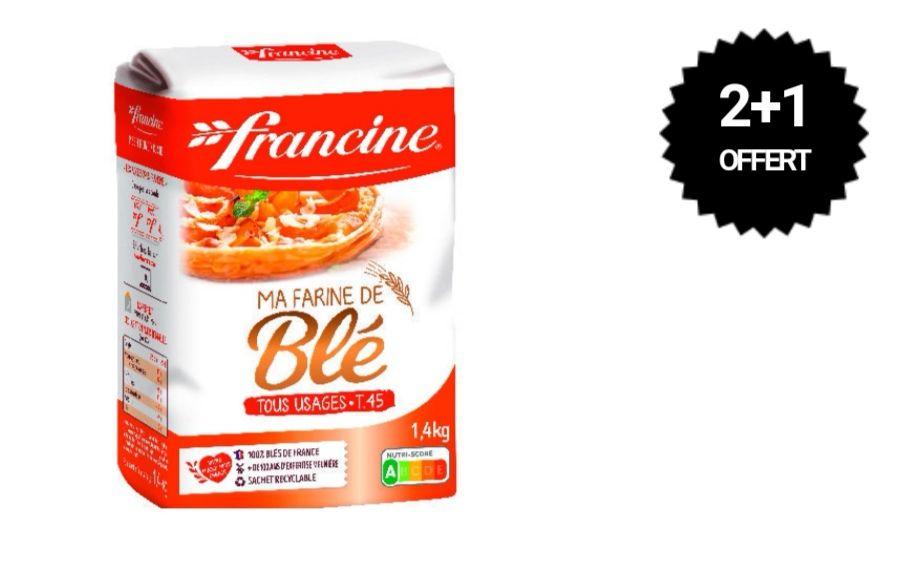 Lot de 3 paquets de 1.4kg de farine de blé Francine T45 tous usages - 3 x 1.4kg