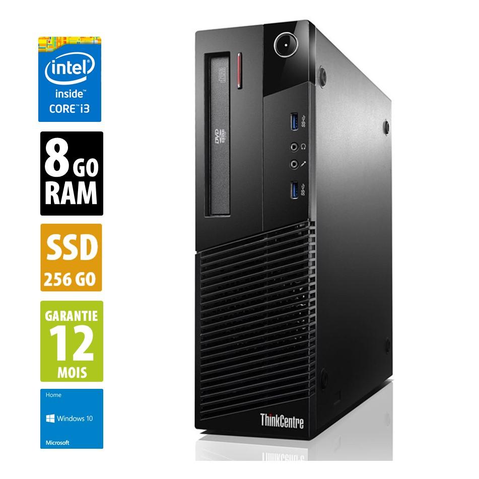 PC Bureau Lenovo ThinkCentre M83 SFF - i3-4130, 8 Go RAM DDR3, SSD 256Go, Gigabit LAN, Windows 10 (Reconditionné)