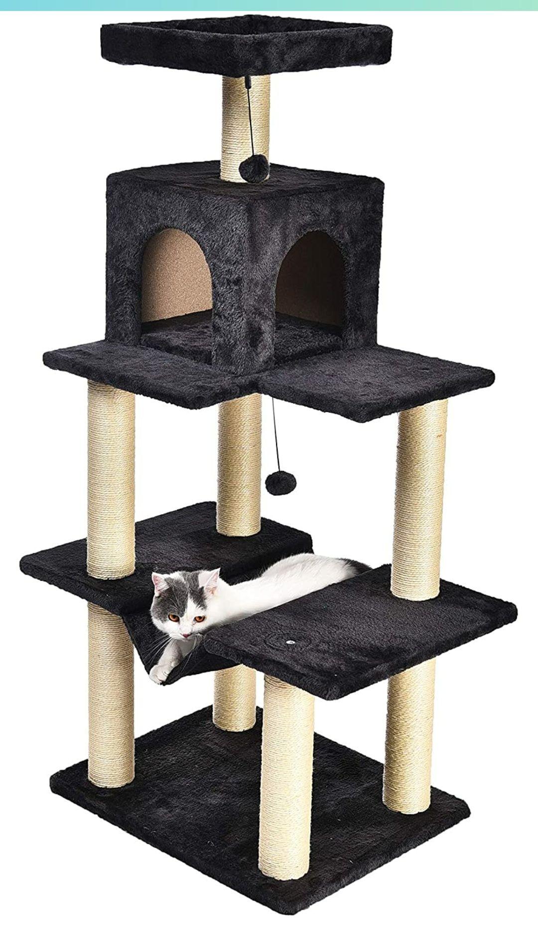 Arbre à chat Amazon Basics avec abri et hamac - Taille S
