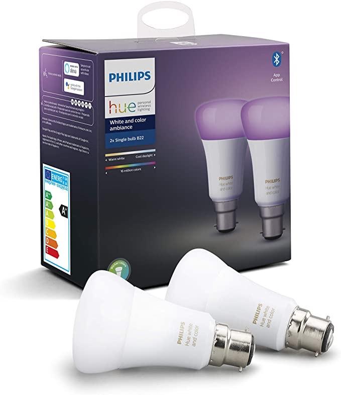 Lot de 2 Ampoules LED Connectées Philips Hue White & Color Ambiance - B22