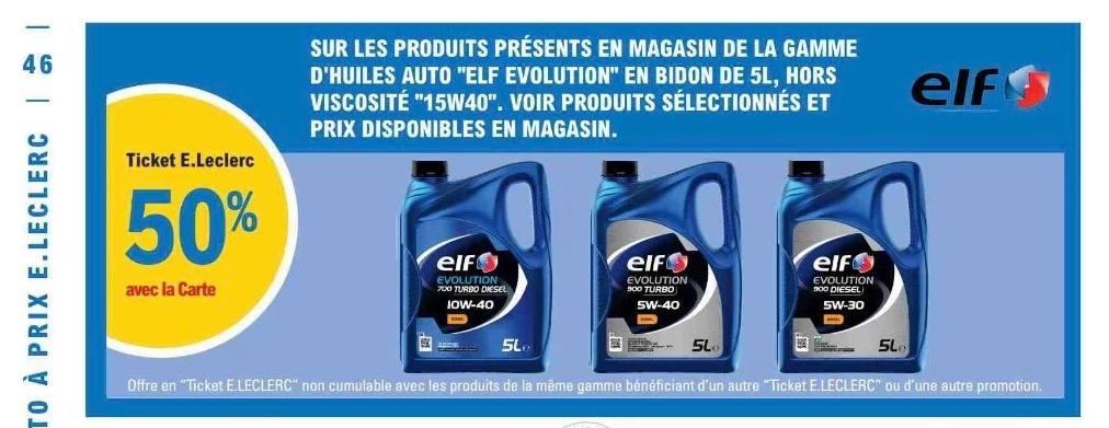 50% crédités sur le compte fidélité sur les huiles moteur Elf Evolution 5L
