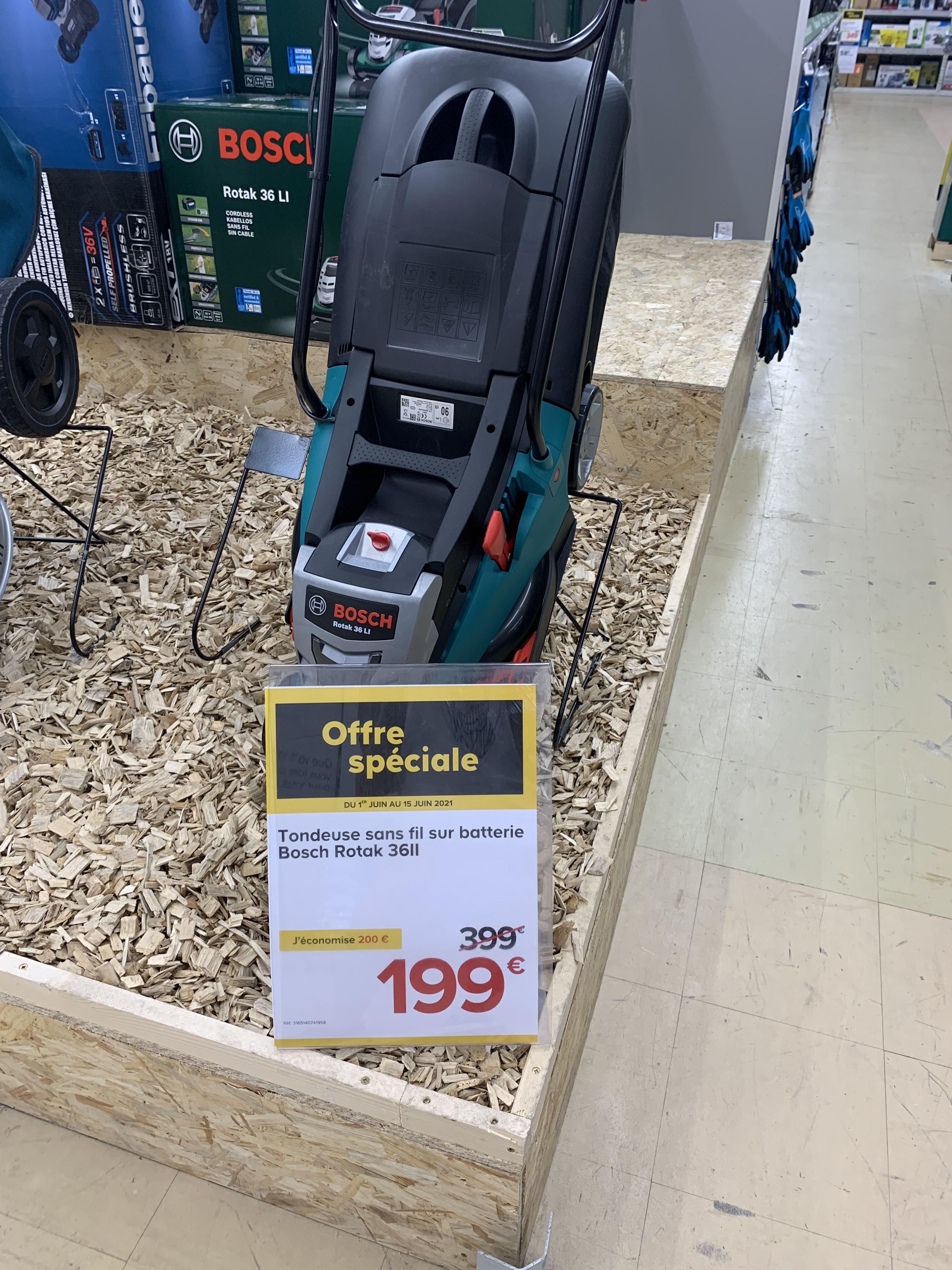 Tondeuse à Gazon sans Fil Bosch Rotak 36 Li (Via ODR de 30€) - Vélizy-Villacoublay (78)