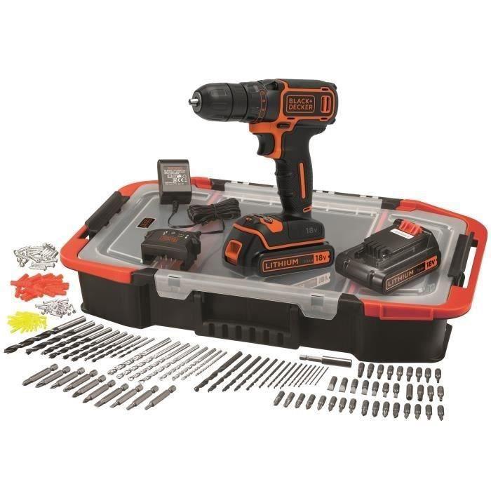 Coffret Perceuse sans-fil 18V Black + Decker BDCDC18BAST-QW - 2 batteries 1.5Ah, chargeur, 160 accessoires (Via ODR de 30€)