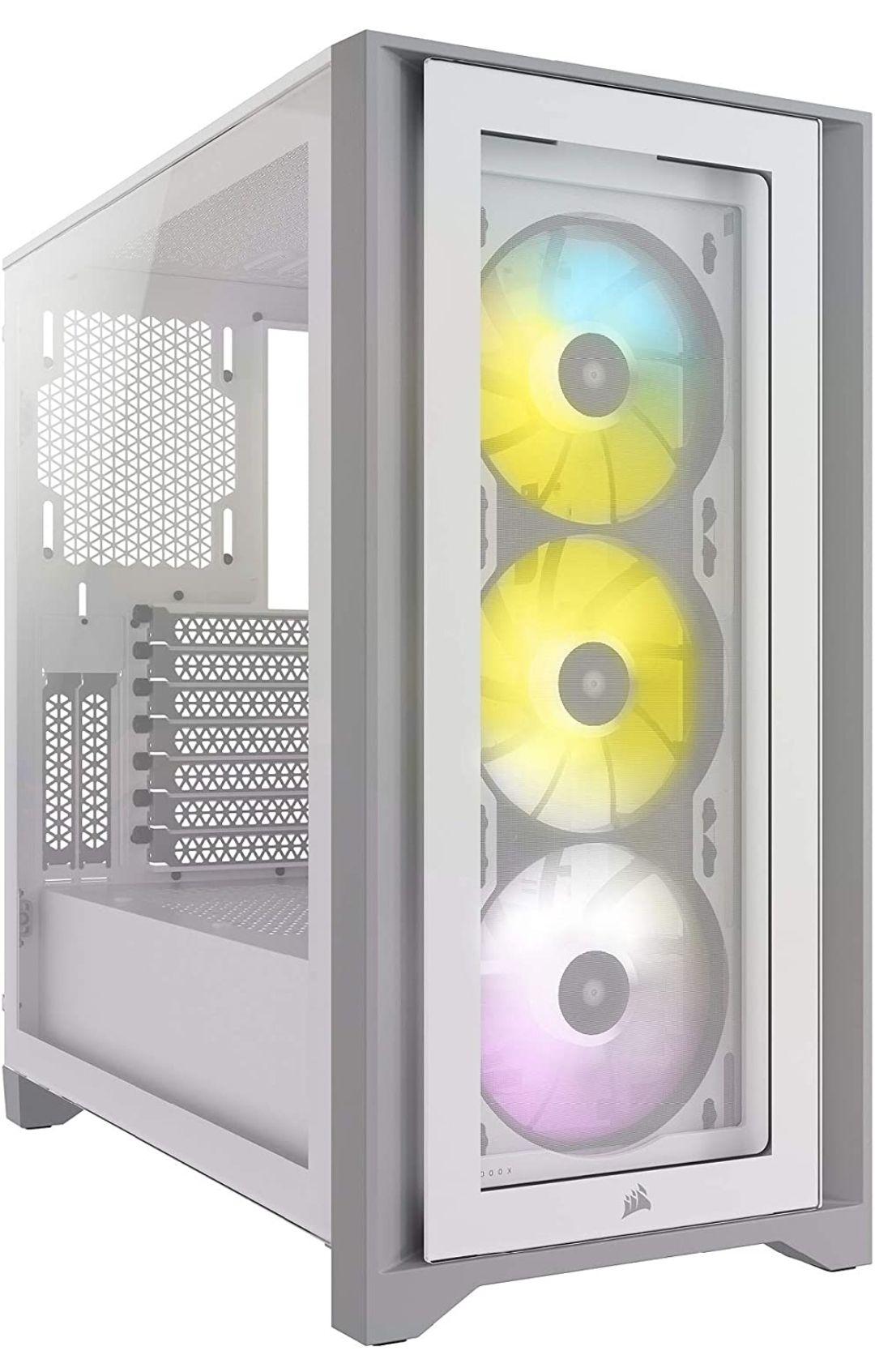 Boitier PC Corsair iCUE 4000X RGB - 3 Ventilateurs RGB 120mm Inclus, Verre Trempé, Blanc (Frais d'importation et de port inclus)